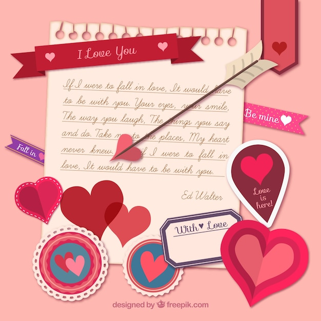 love note with valentine day elements vector | free download, Ideas