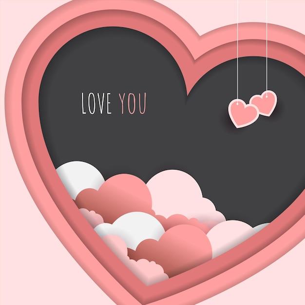 ピンクの愛の紙のスタイル Premiumベクター