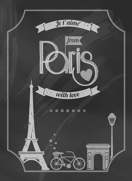 Love paris chalkboard retro poster with eiffel tower and bike Free Vector