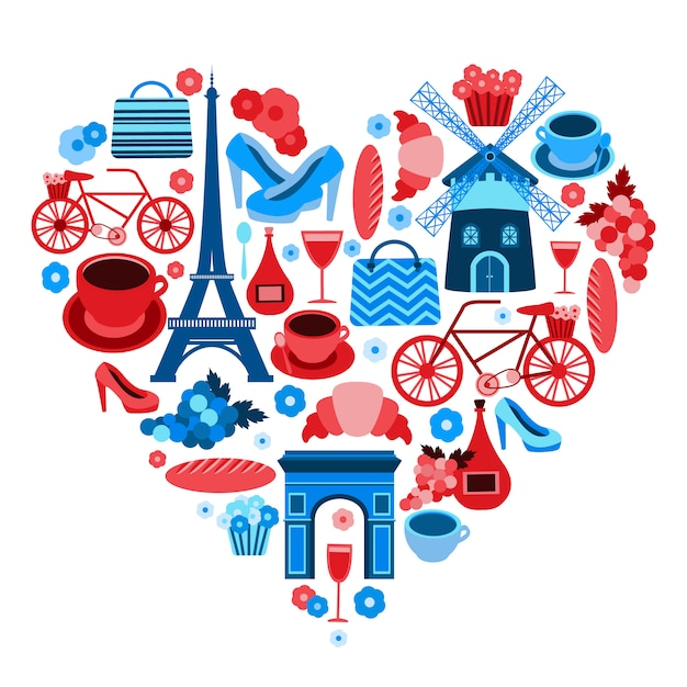 Love paris heart symbol with icons set isolated Free Vector