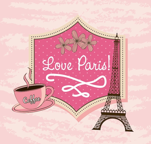 Love paris with tower eiffel and coffee Premium Vector