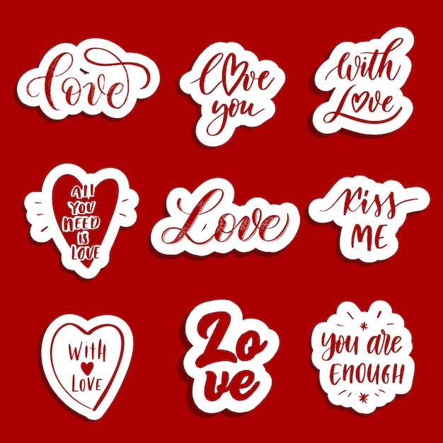Love  patches and stickers Premium Vector