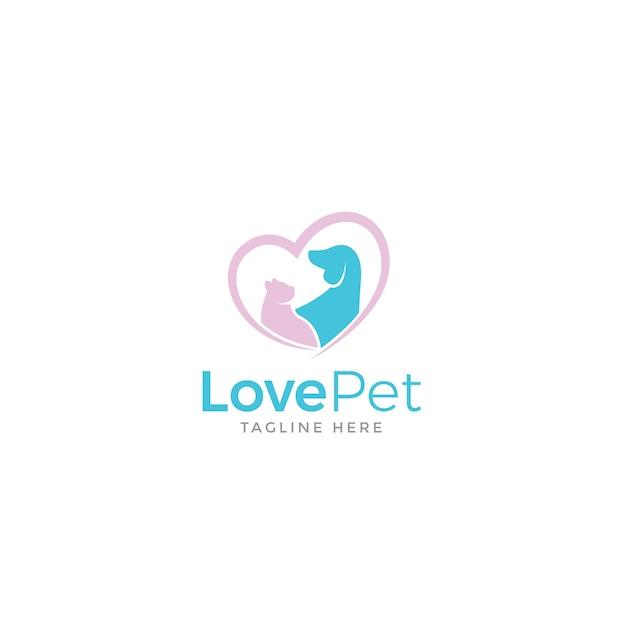 Love pet logo Premium Vector