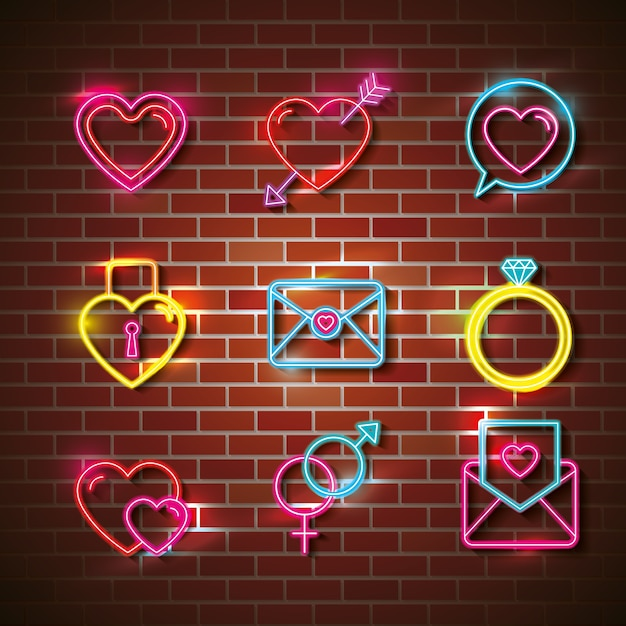 Love poster with neon lights set icons vector illustration design Premium Vector