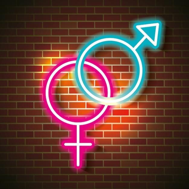 Love poster with neon lights vector illustration design Premium Vector