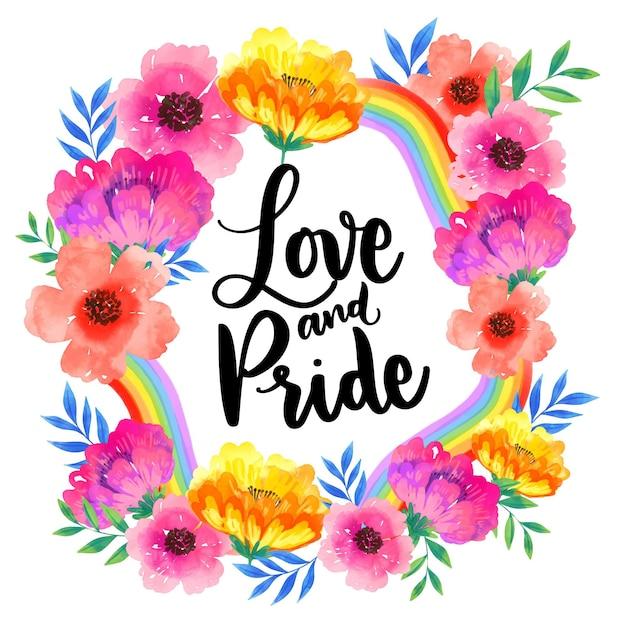Amore e orgoglio scritte fiori ad acquerelli Vettore gratuito