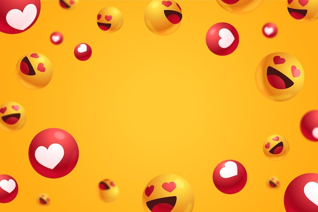 Love reactions with empty space background Free Vector