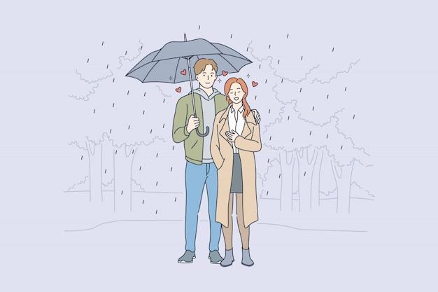 사랑, 관계, 로맨스 개념 프리미엄 벡터