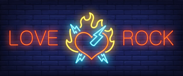 Love, rock neon text with heart on fire and lightning Free Vector