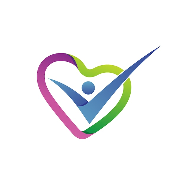 Love shape health care logo vector Premium Vector