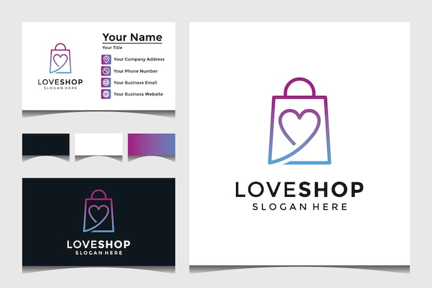 Love shop logo template with business card design Premium Vector