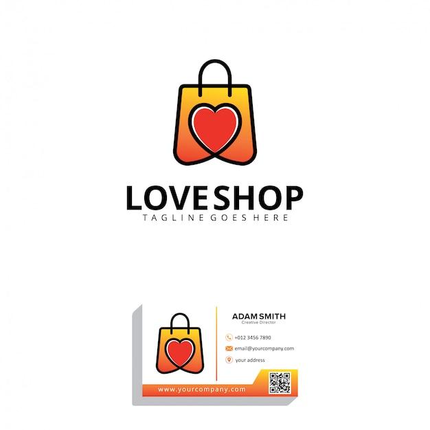 Шаблон логотипа love shop Premium векторы
