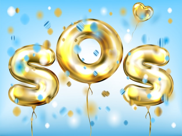 Love sos signal poster with golden heart balloon Premium Vector