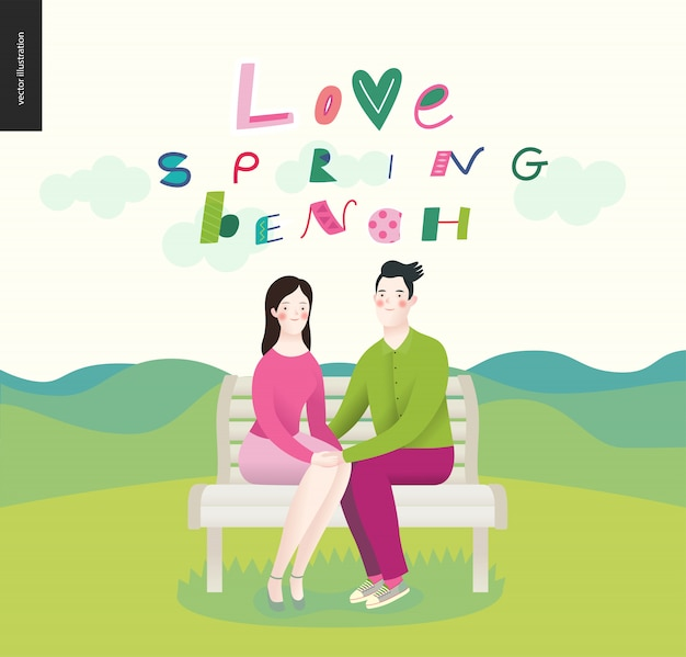 Love, spring, bench. a couple in love Premium Vector