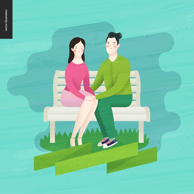 Love, spring, bench - a couple in love Premium Vector