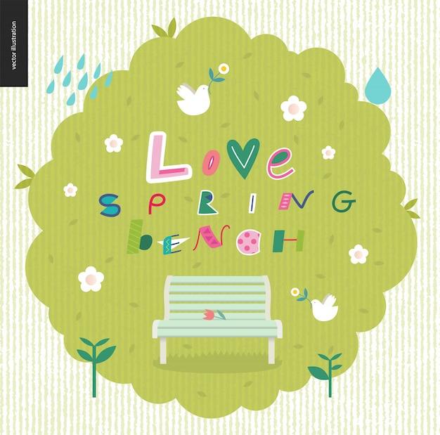 Love, spring, bench fun lettering Premium Vector