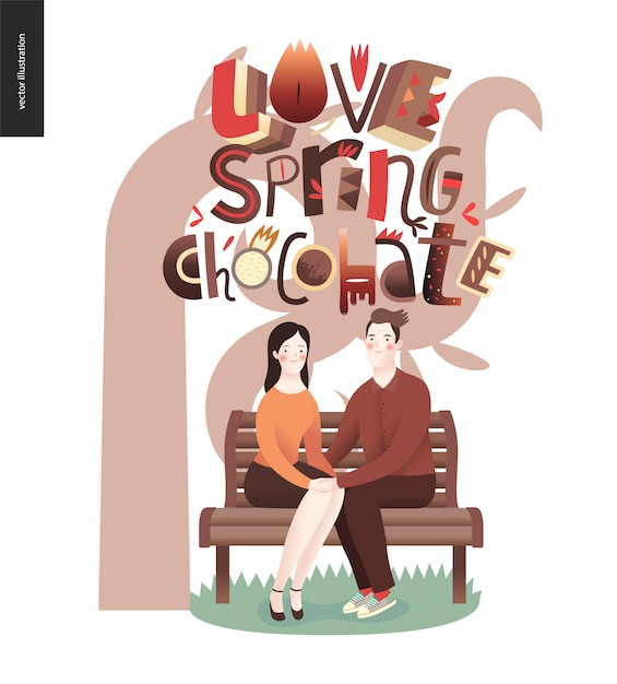 Love spring chocolate slogan - lettering composition and a couple sitting on the bench Premium Vector