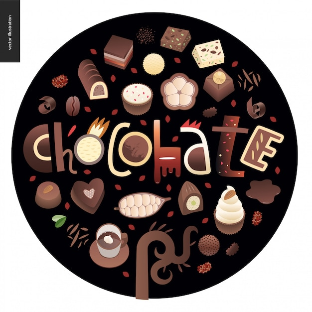 Love spring chocolate Premium Vector