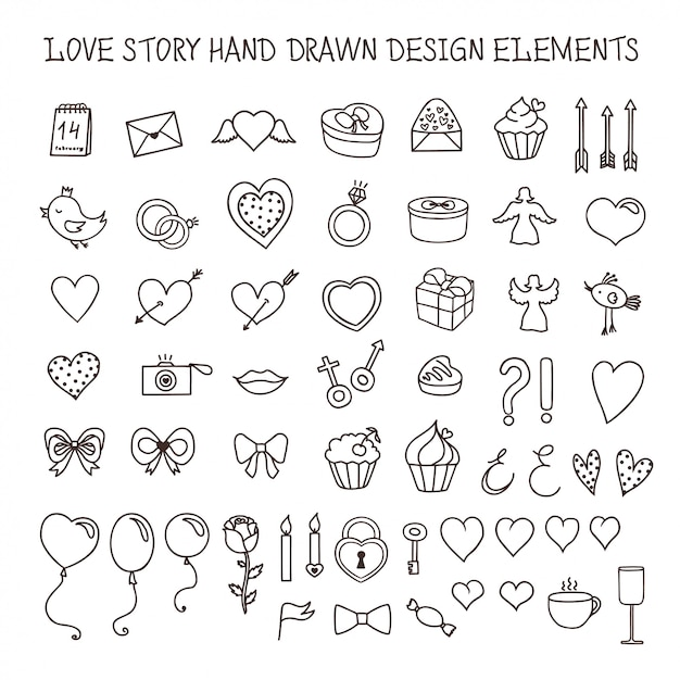 Love story hand drawn design elements doodle set. vector vintage illustration. Premium Vector