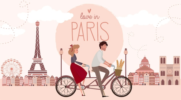 Love story in paris with a lover couple riding a bicycle. romantic poster, love you card or wedding invitation Premium Vector