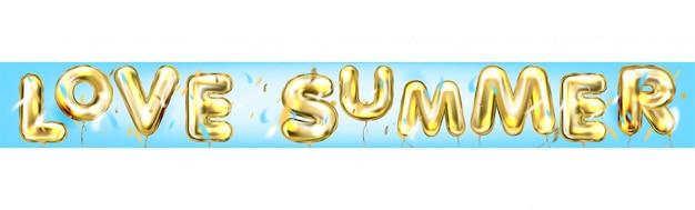 Диско-постер love summer от воздушных шаров в голубом воздухе Premium векторы