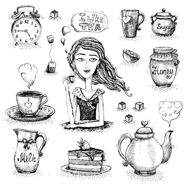 The love of tea scene Free Vector