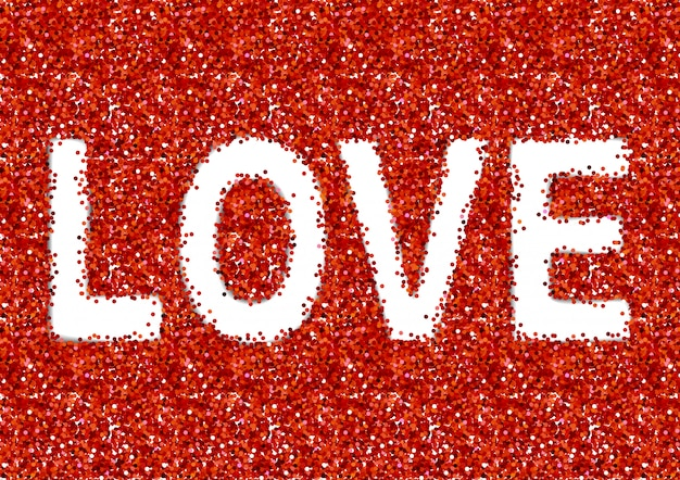 Love text on red sparkles background Premium Vector