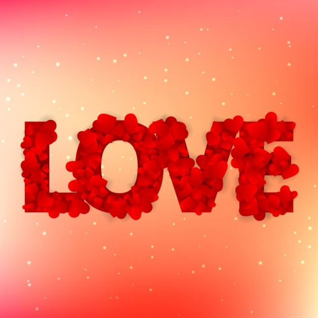Love text written with hearts