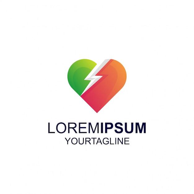 Цвет градиента love thunder удивительный логотип inspiration Premium векторы
