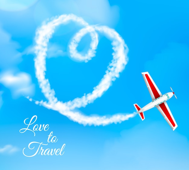 Love to travel heart shaped airplane condensation trail on blue sky Free Vector