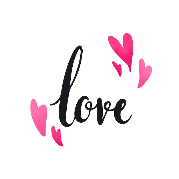 Love typography decorated with hearts vector Free Vector