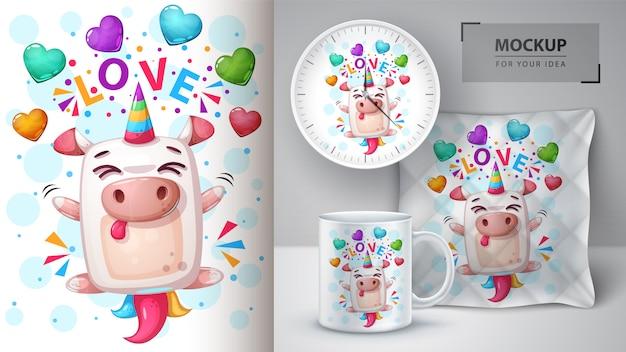 Love unicorn illustration Premium Vector