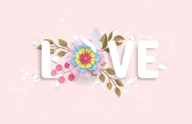 The love vocabulary consists of flowers and butterflies that look like a paper cut, set in a pink background Premium Vector