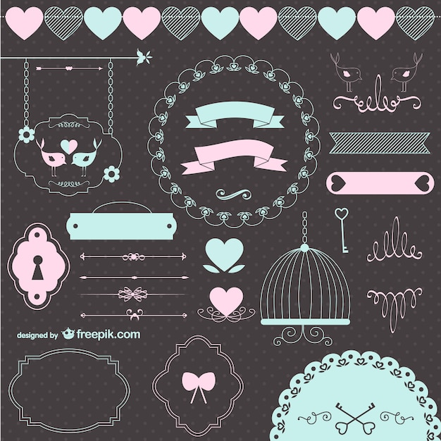 Love wedding retro graphic elements  Free Vector