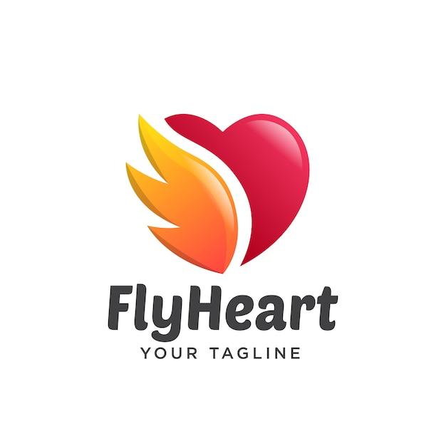 Love wings logo gradient simple clean 3d Premium Vector