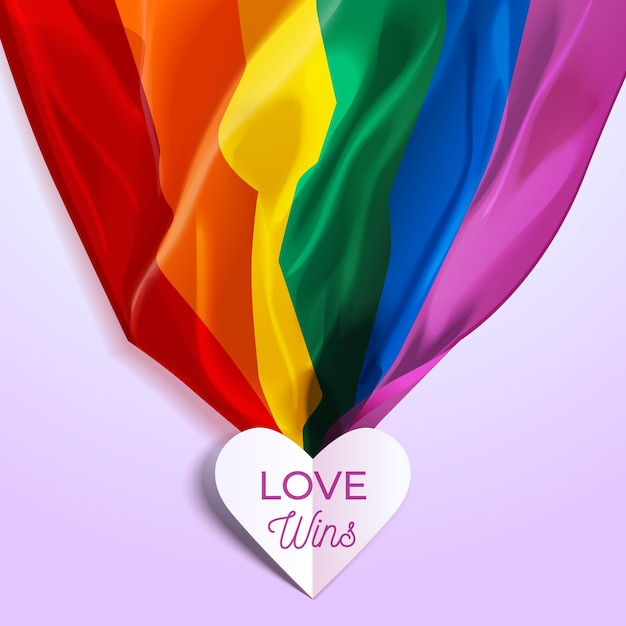 Love wins lettering in a heart and pride rainbow flag Free Vector