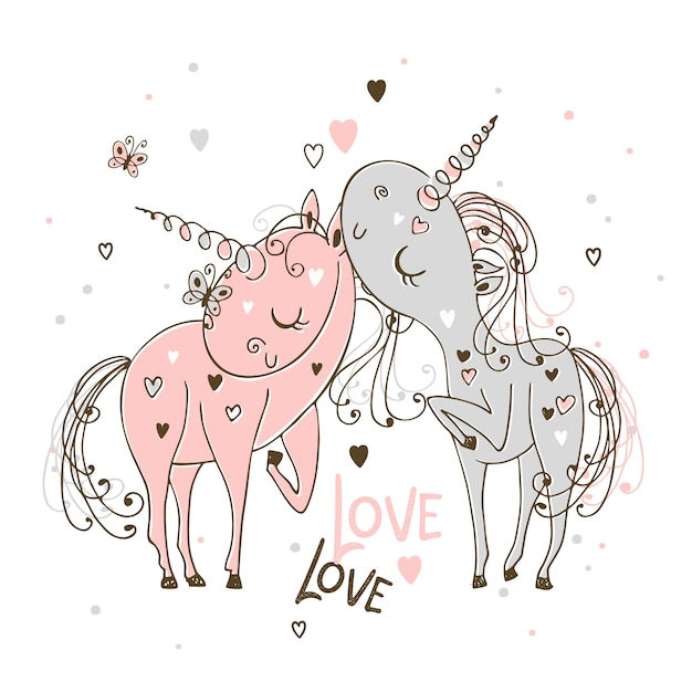 In love with each other unicorns the boy and the girl Premium Vector