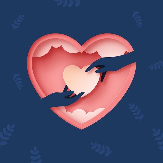 Любовь руками и сердцем Premium векторы