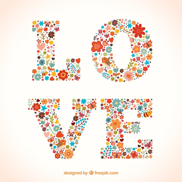 Love Word Made Of Flowers Free Vector