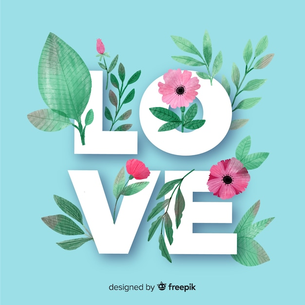 Love word with flowers and leaves Free Vector