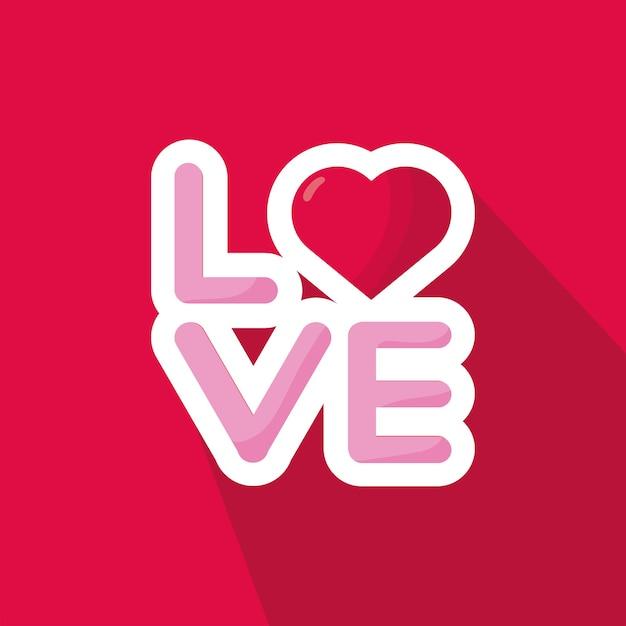 Любовное слово с сердцем день святого валентина на красном фоне Premium векторы