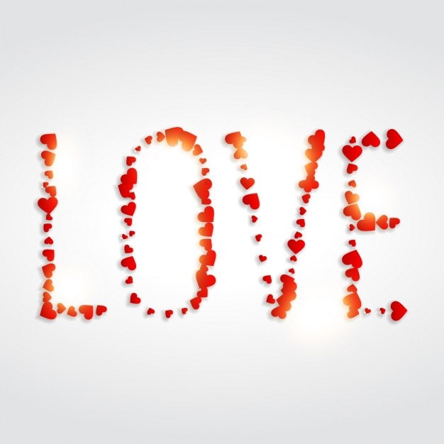 Love Written With Hearts Vector Free Download