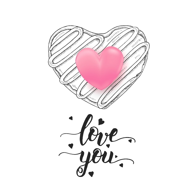 Love you - handwritten motivational quote, hand drawn doodle donut isolated on white and 3d pink heart. Premium Vector