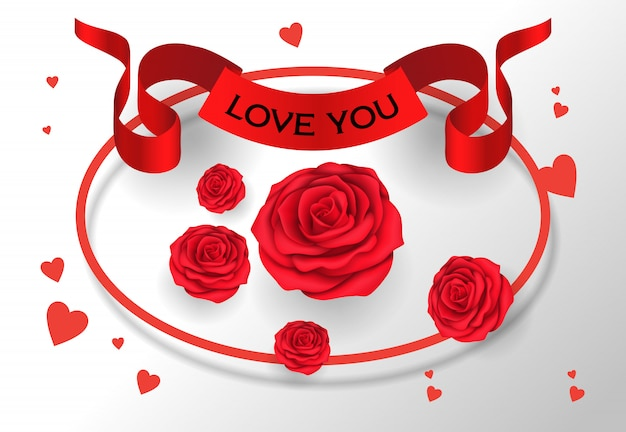 Love you lettering on ribbon with roses Free Vector