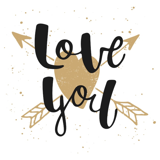 Love you with heart and arrows Premium Vector