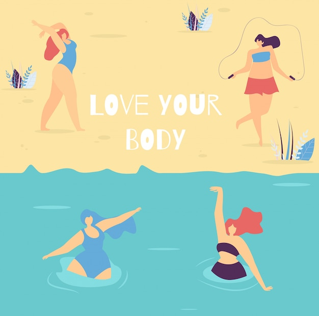 Love your body motivational lettering woman banner Premium Vector