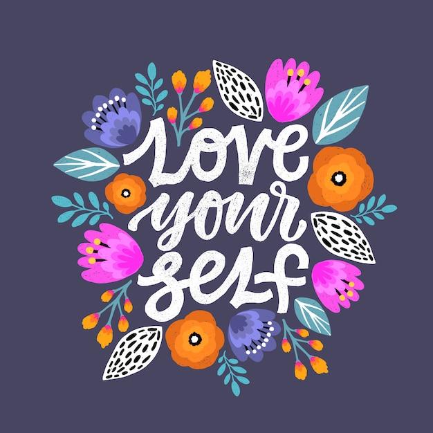 Love yourself lettering quote. Premium Vector