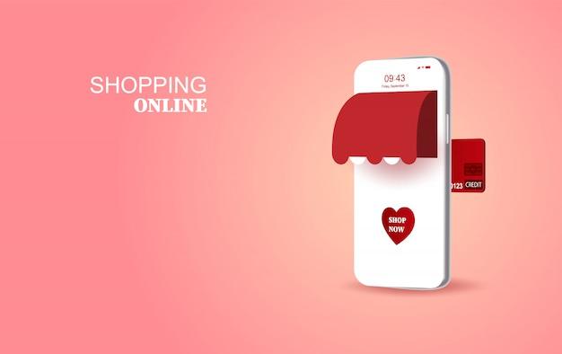 バレンタインloveシーズン特別コンセプトスマートフォン Premiumベクター