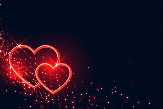 Lovelt red hearts sparkles valentines day background Free Vector