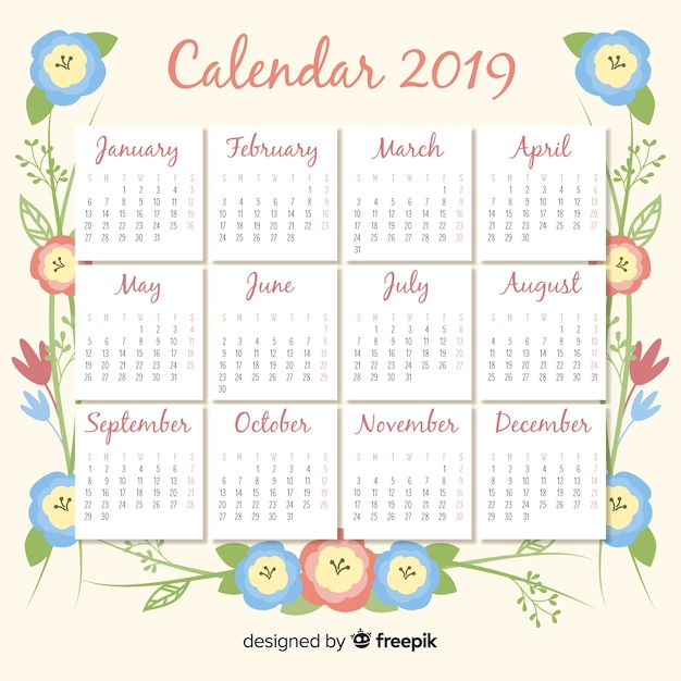 Lovely 2019 calendar template with floral style Free Vector